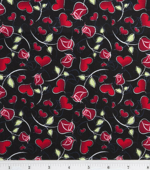 Day valance with hearts amp red roses on black low ship ebay