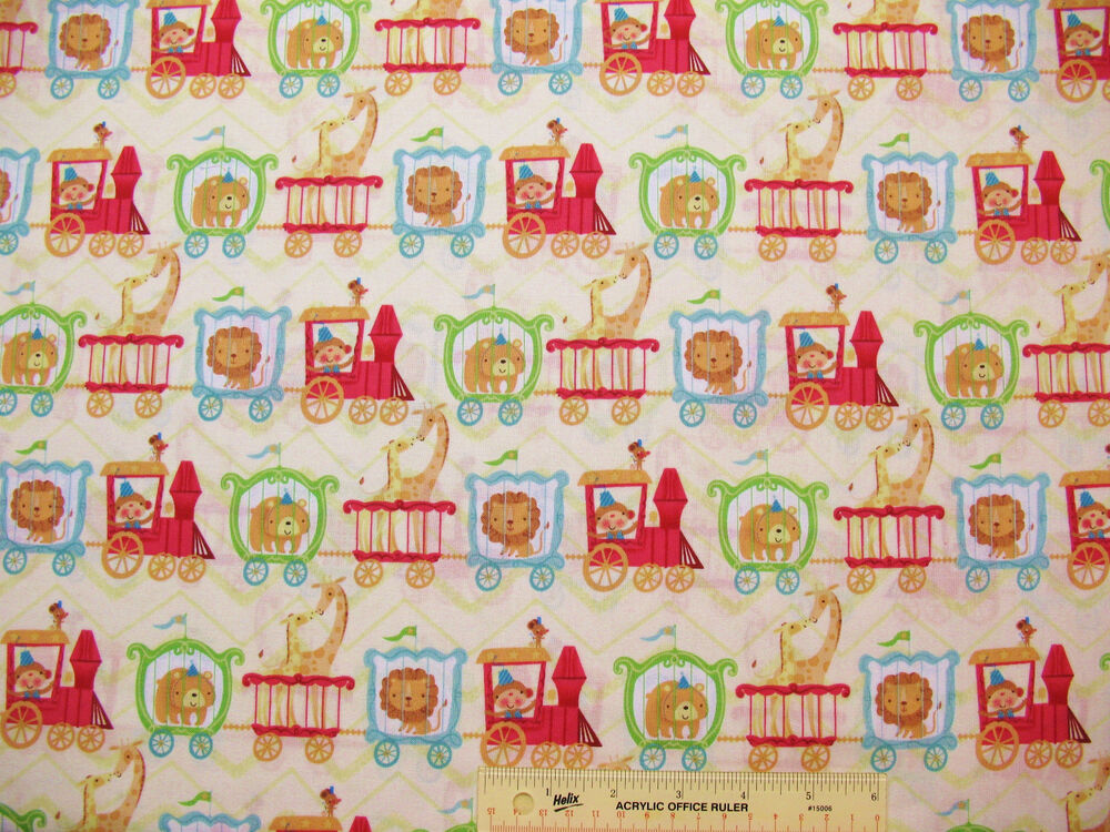 Circus train childrens kids lions giraffes bears monkeys for Childrens cotton fabric