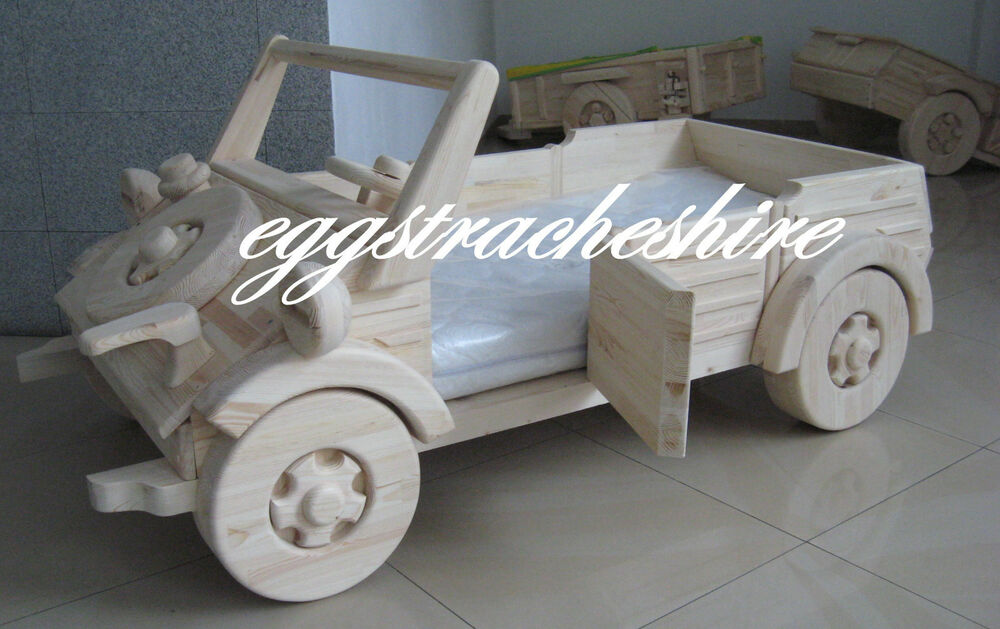 Wooden Toddler Car Bed WITH OUT THE TRAILER VERY UNIQUE