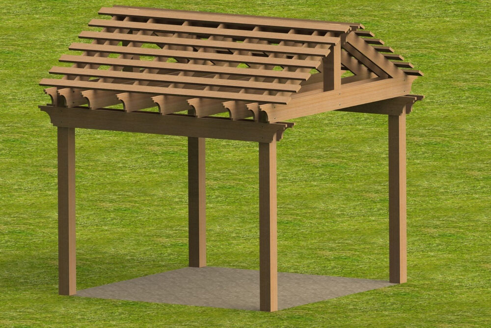 Yard and garden pergola with gable roof building plans ebay for Pitched roof design plans