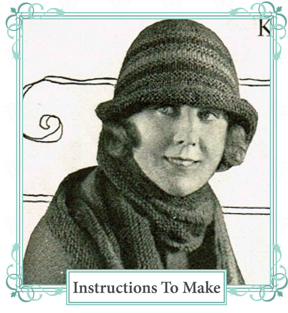 Vintage Knitting Patterns 1920s : Vintage 1920s knitting pattern-Downton Abbey era striped flapper hat to make ...