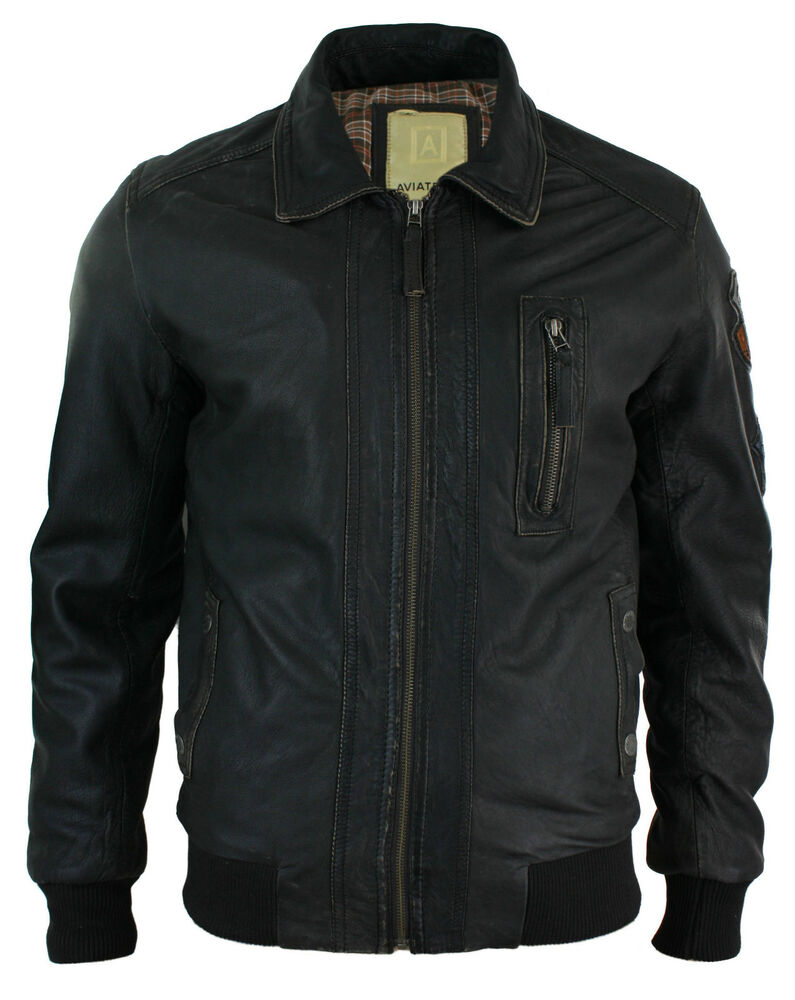 Mens Fitted Real Leather Jacket Bomber Vintage Aviator