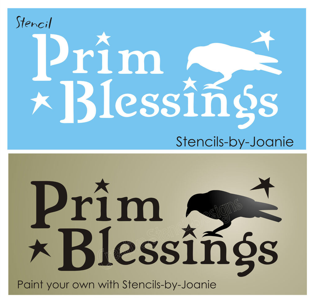 Stencil primitive blessings crow black bird country folk for Quote stencils for crafts