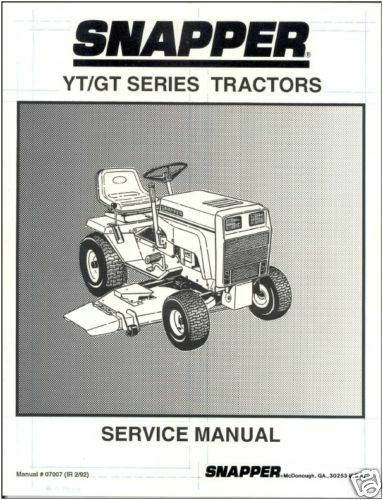 Snapper Yt    Gt Series Tractor Service Manual