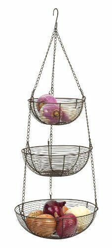 Bronze Wire Hanging Baskets Holds A Variety Of Fruits And