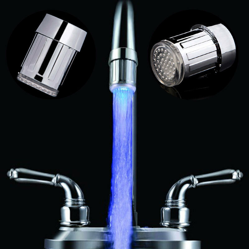 Abs blue led light water stream faucet tap round connector