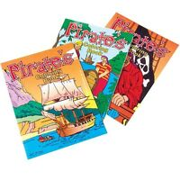 12 PIRATE JOLLY ROGER Coloring Book Kid Party Goody Loot Bag Filler Favor Supply
