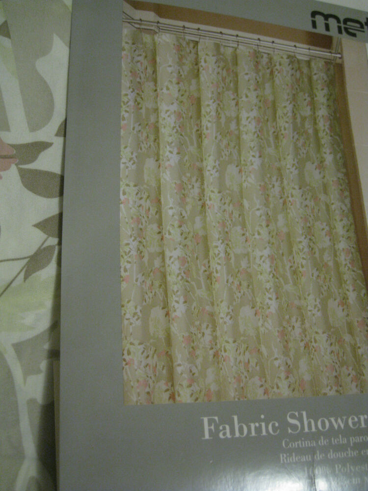 Metro Luxe Fawn Floral Green Taupe Mauve Soft Fabric Shower Curtain New Ebay