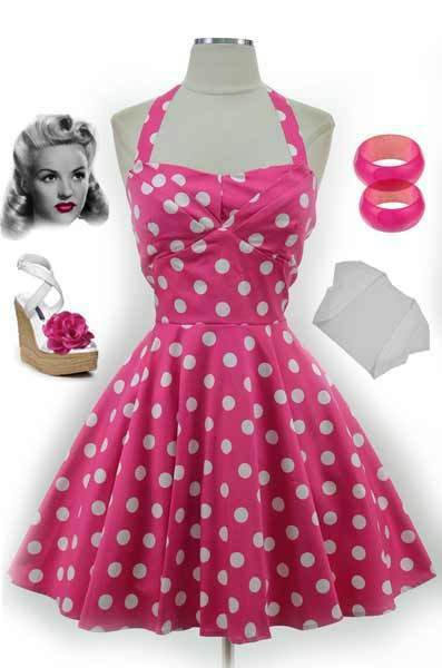50s Style Pink Polka Dot Traveling Cupcake Truck Dress