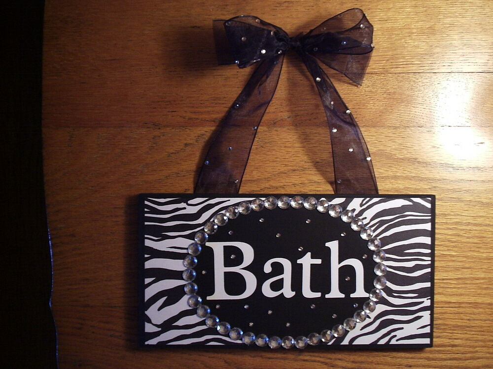 Zebra animal print bath bathroom chic sign zebra wall for Zebra bathroom accessories