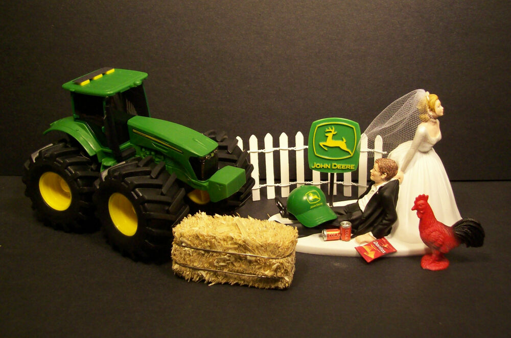 NO FARMING JOHN DEERE TRACTOR Bride Amp Groom WEDDING CAKE TOPPER FUNNY Groms Cake