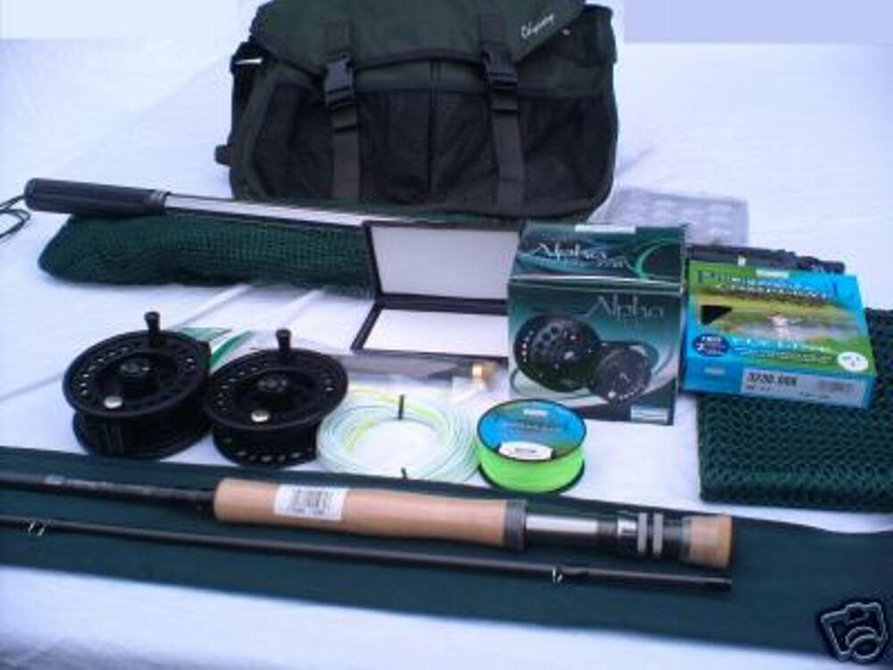Fly fishing kit tackle bag net rod reel line flies ebay for Fly fishing combo kit