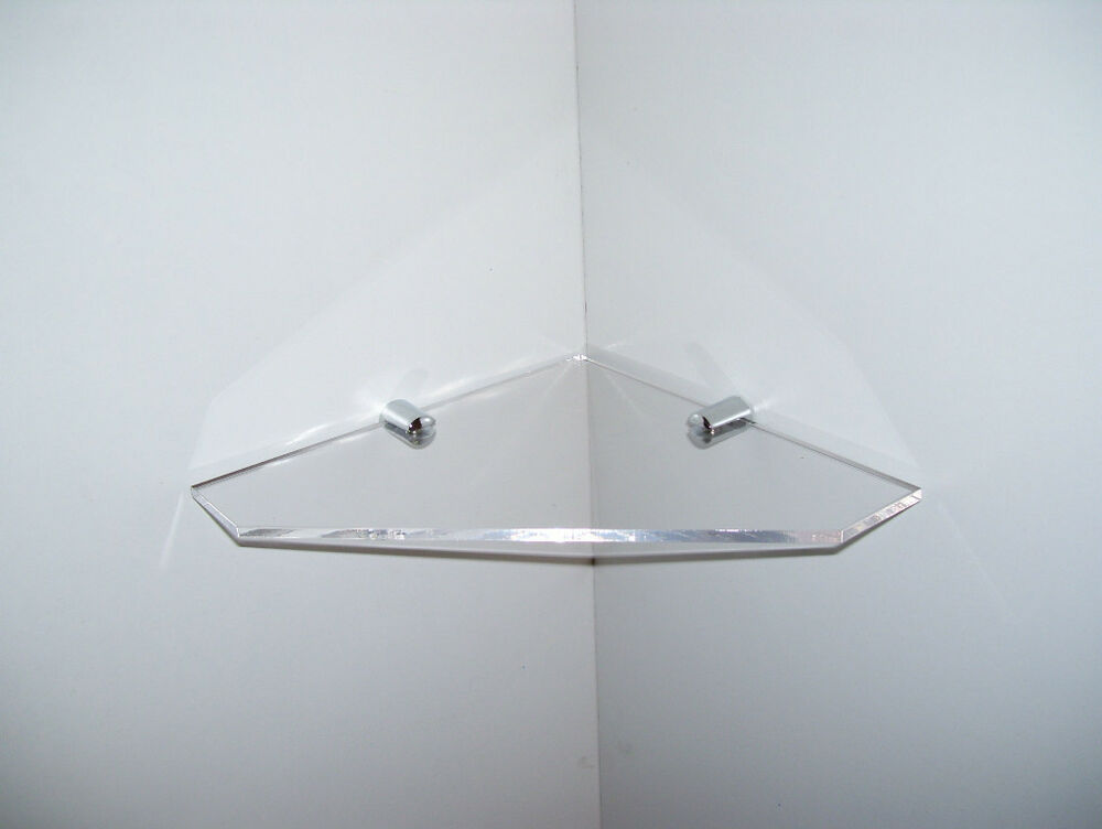 Acrylic Perspex Corner Shelf Small Chrome Fittings Ebay