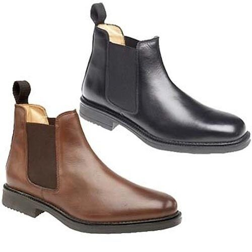 Mens Roamers Chelsea Boots Leather Black Brown 6 12 Ebay