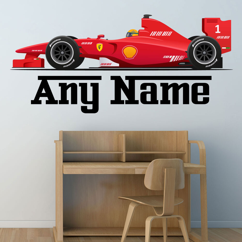 Personalised f1 race car wall sticker boys name bedroom for Cars wall mural sticker