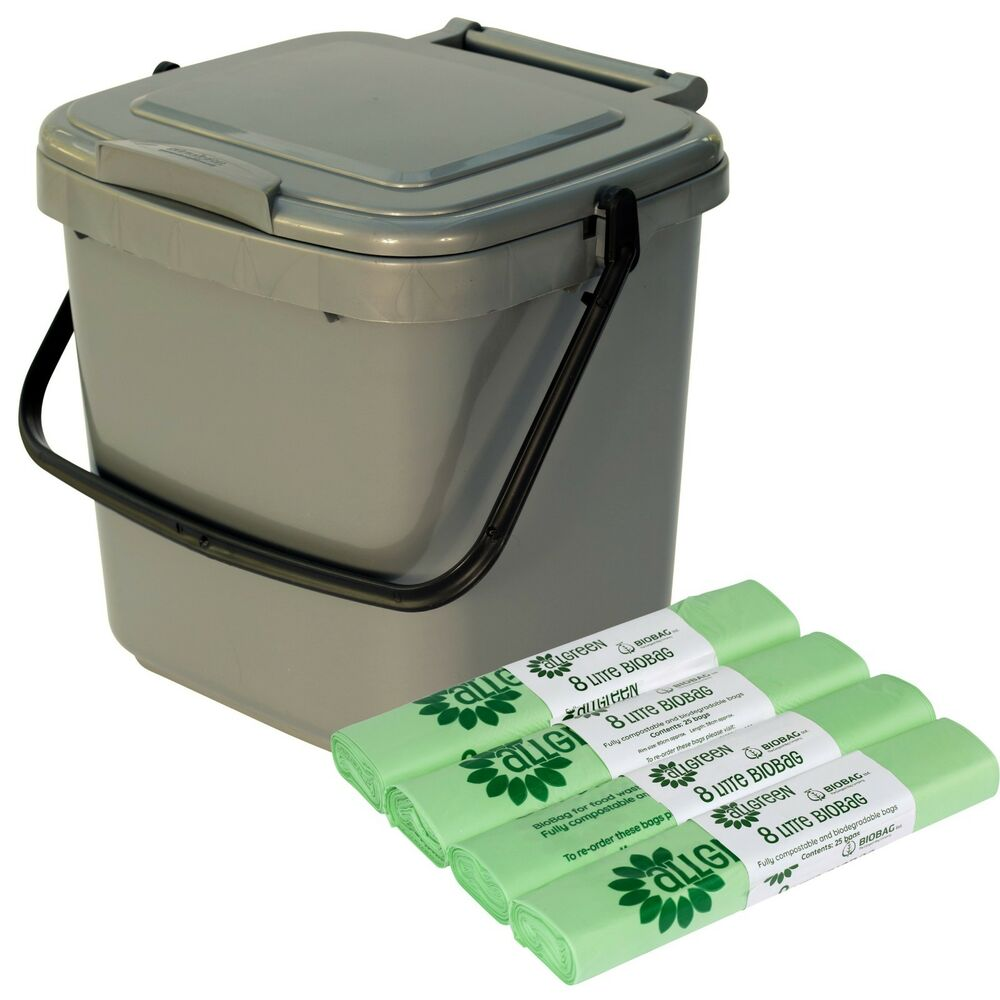 kitchen compost caddy 100x 8l biobags silver food. Black Bedroom Furniture Sets. Home Design Ideas