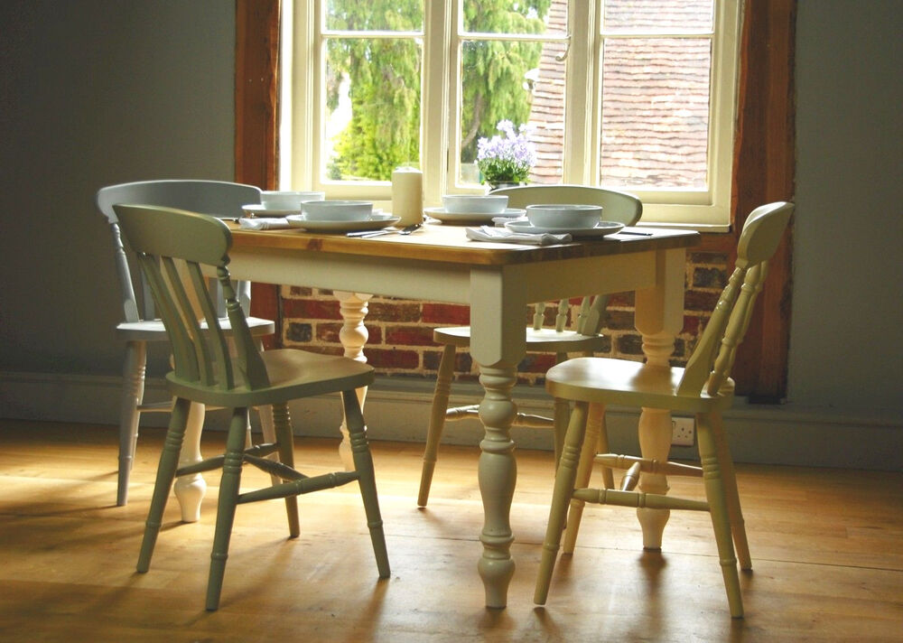 solid pine farmhouse kitchen dining table from the good shelf company