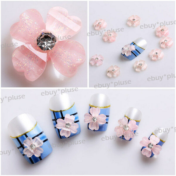 Wholesale100 pink 3d acrylic rhinestone flowerglitters for Acrylic nail decoration supplies