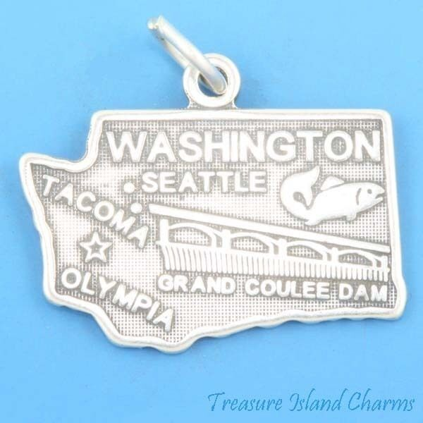 Washington state map seattle olympia tacoma 925 solid for Sell gold jewelry seattle