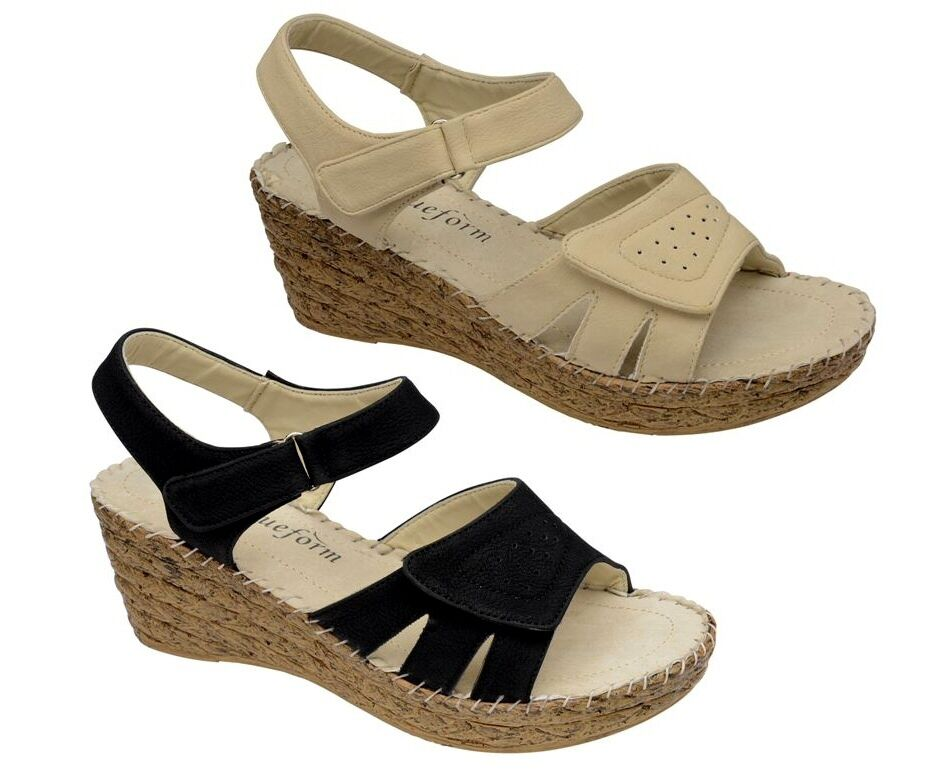 womens wide fit lightweight wedge leather lined sandals