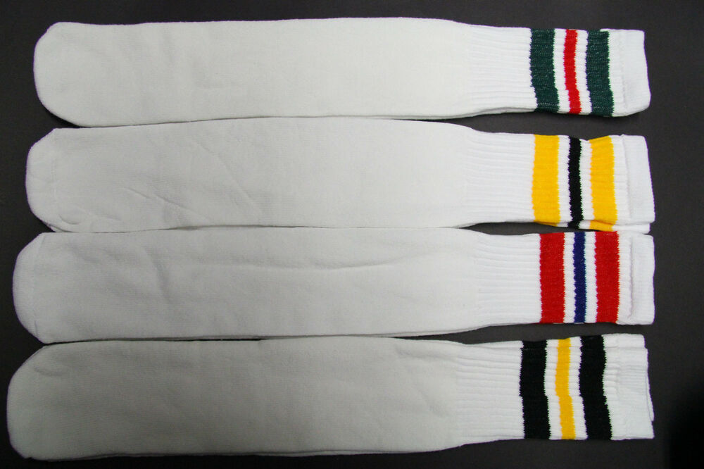 1 pairs 24 INCH LONG TUBE SOCKS WHITE STRIP MEN'S & WOMEN ...