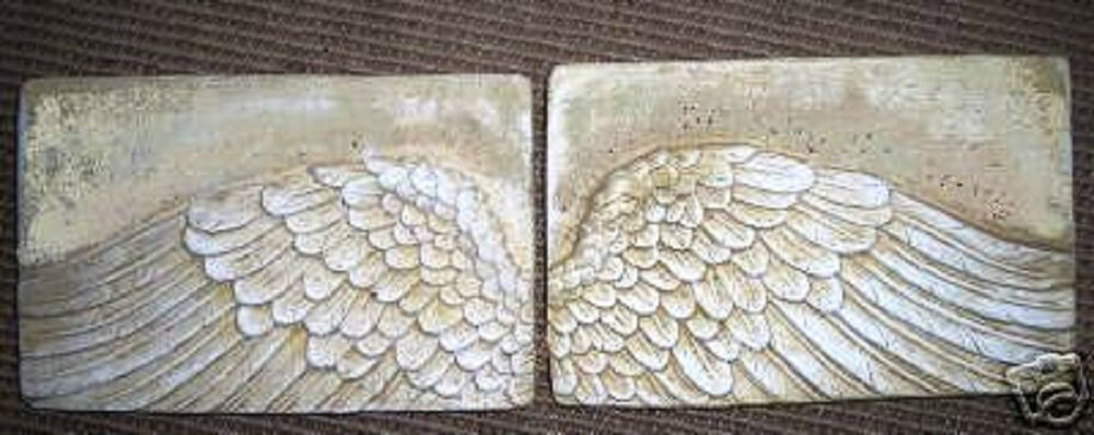 New plastic angel wings set of concrete plaster molds ebay for Angel wall decoration