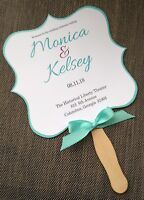 Blue and Purple Personalized Wedding Program Fans