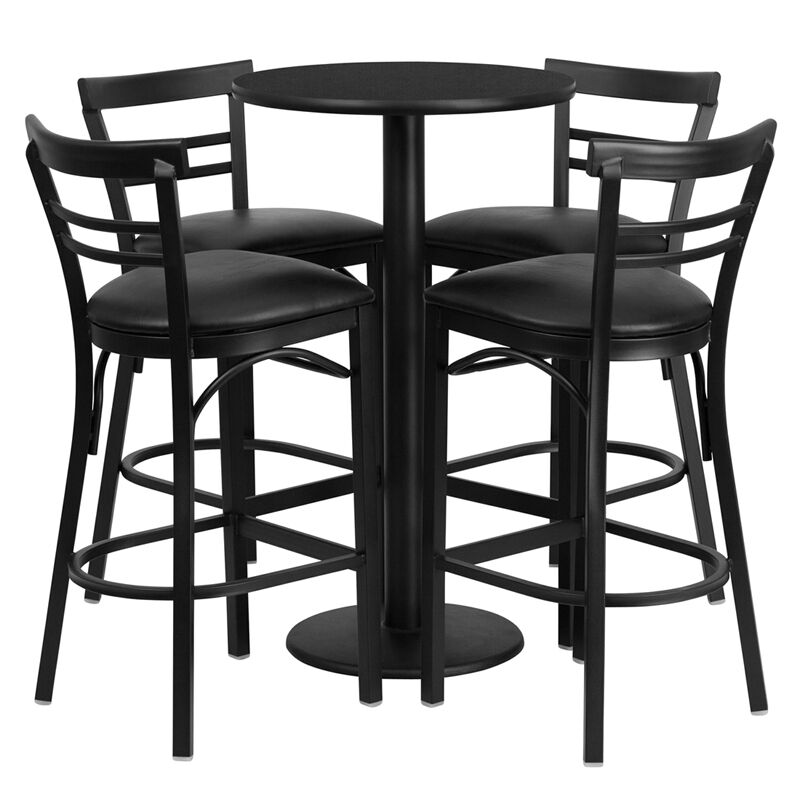 Round Table With Stools: Restaurant Table Chairs 24'' Black Laminate With 4 Ladder