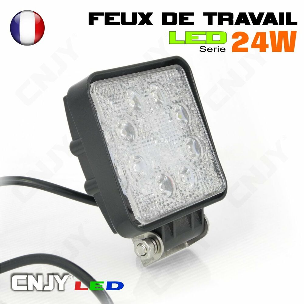 phare feux de travail projecteur led 12 24v eclairage ebrancheuse a chenille ebay. Black Bedroom Furniture Sets. Home Design Ideas