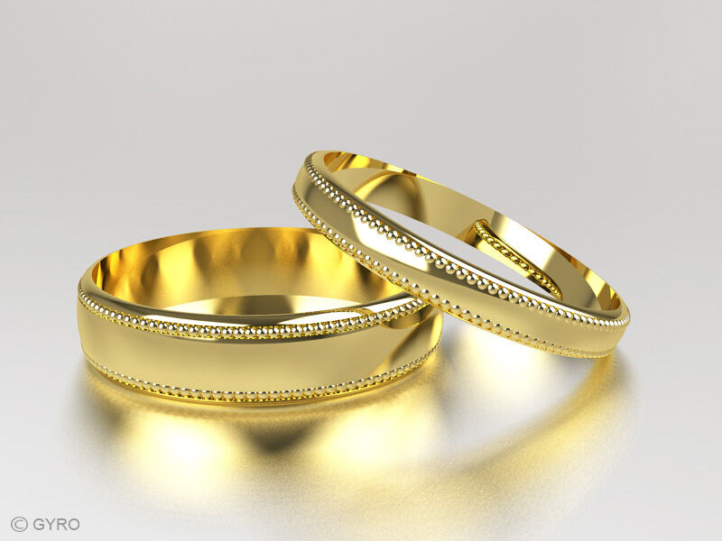 9ct Yellow Gold Millgrain Pattern His and Hers set of Wedding Rings Hallmarke