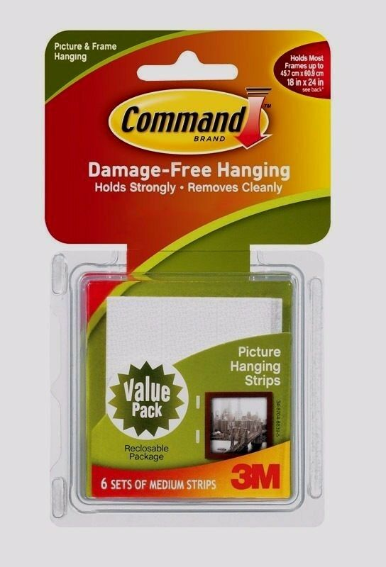 new 3m command picture hanging strips 6 sets medium. Black Bedroom Furniture Sets. Home Design Ideas