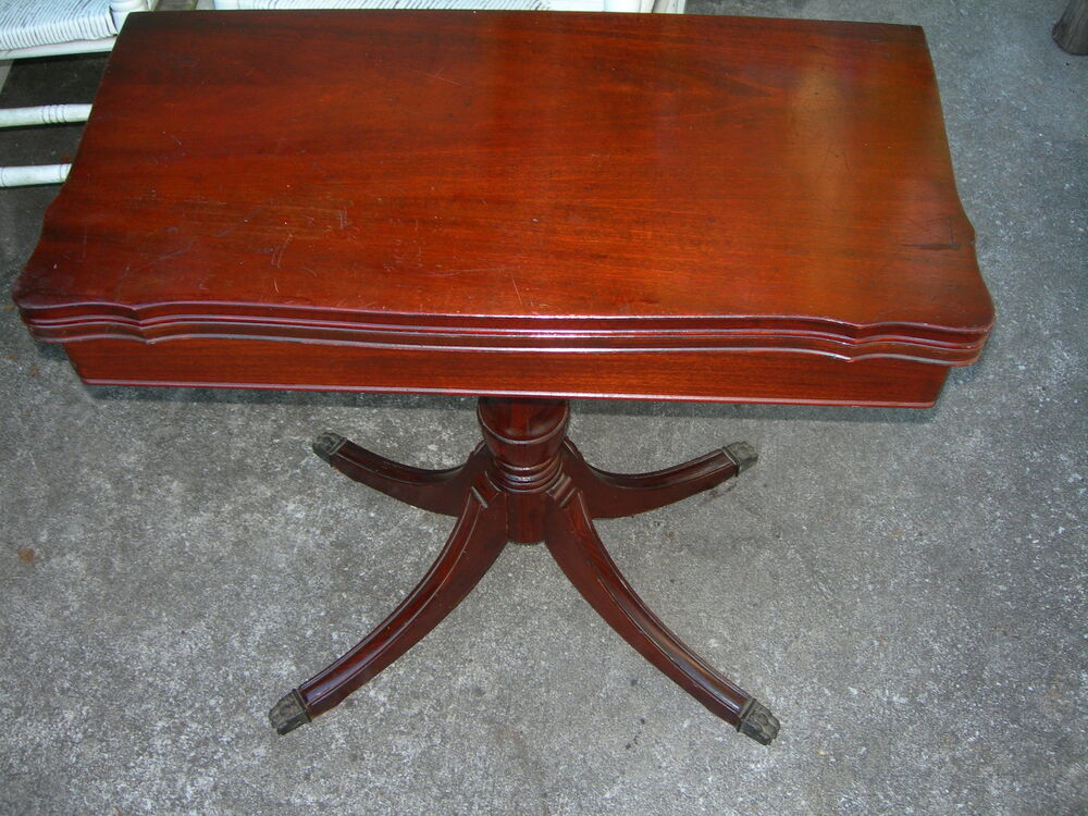 Antique Vintage Imperial End Coffee Lamp Game Table Mahogany Federal Mid  Century   EBay