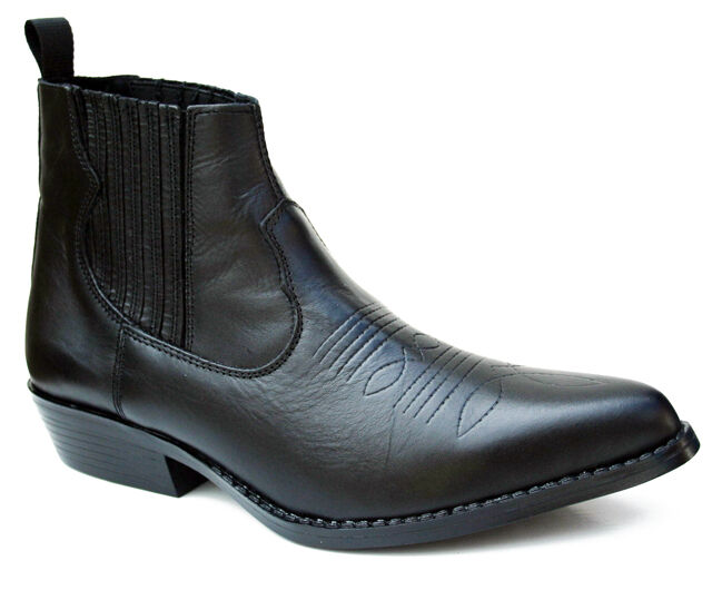mens genuine black soft leather ankle boot elasticated