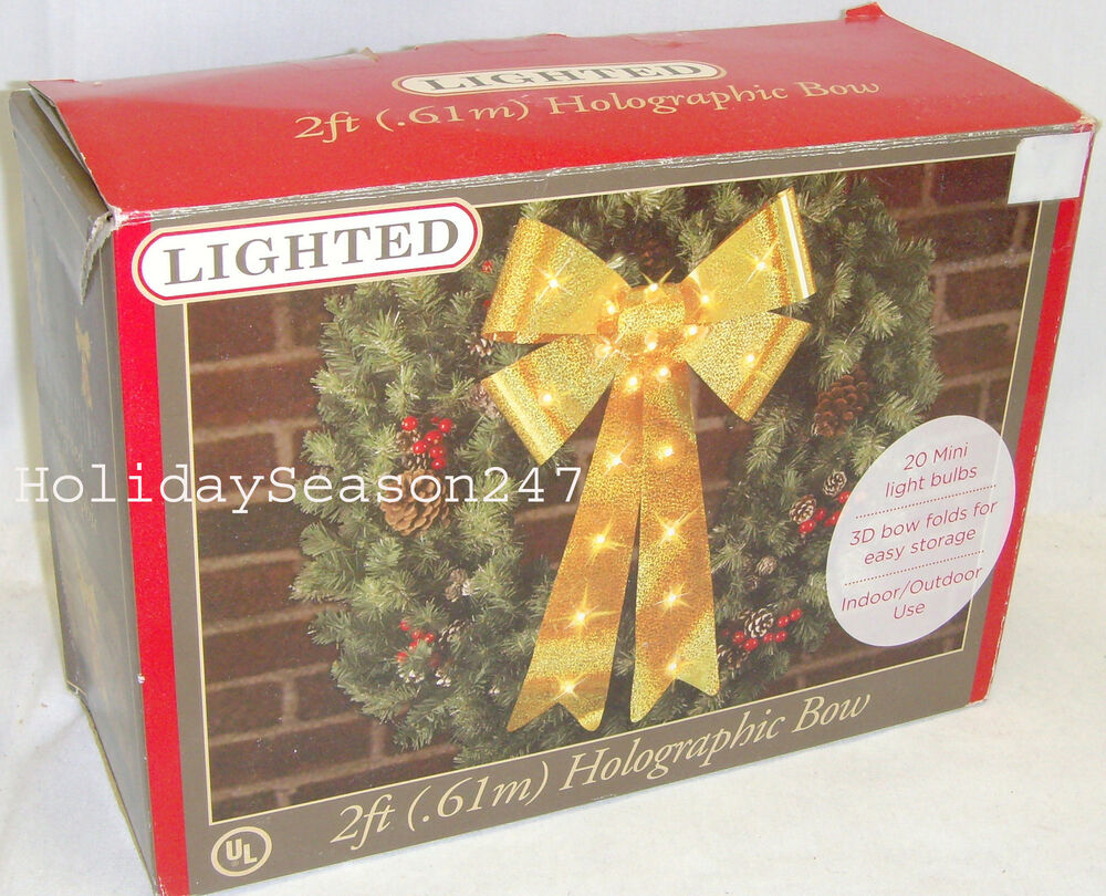 2ft lighted holographic yellow bow christmas holiday outdoor wedding decoration ebay - Hologram Outdoor Christmas Decorations
