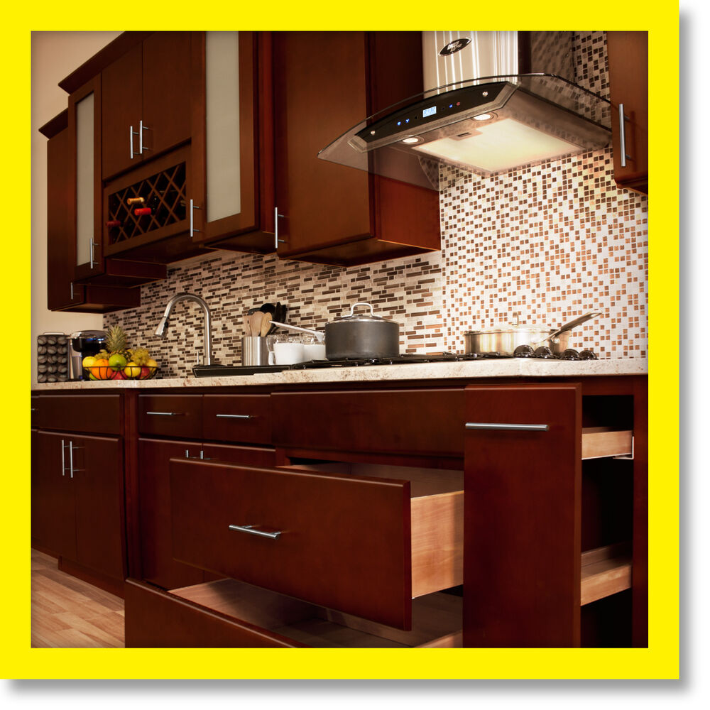 All solid wood kitchen cabinets villa cherry 10x10 rta ebay for Solid wood cabinets