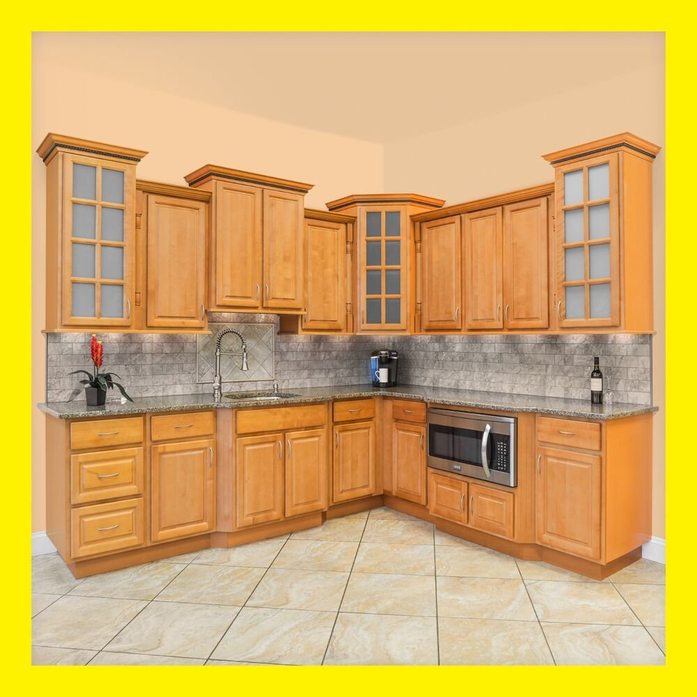 Richmond All Wood Kitchen Cabinets Honey Stained Maple Group Sale