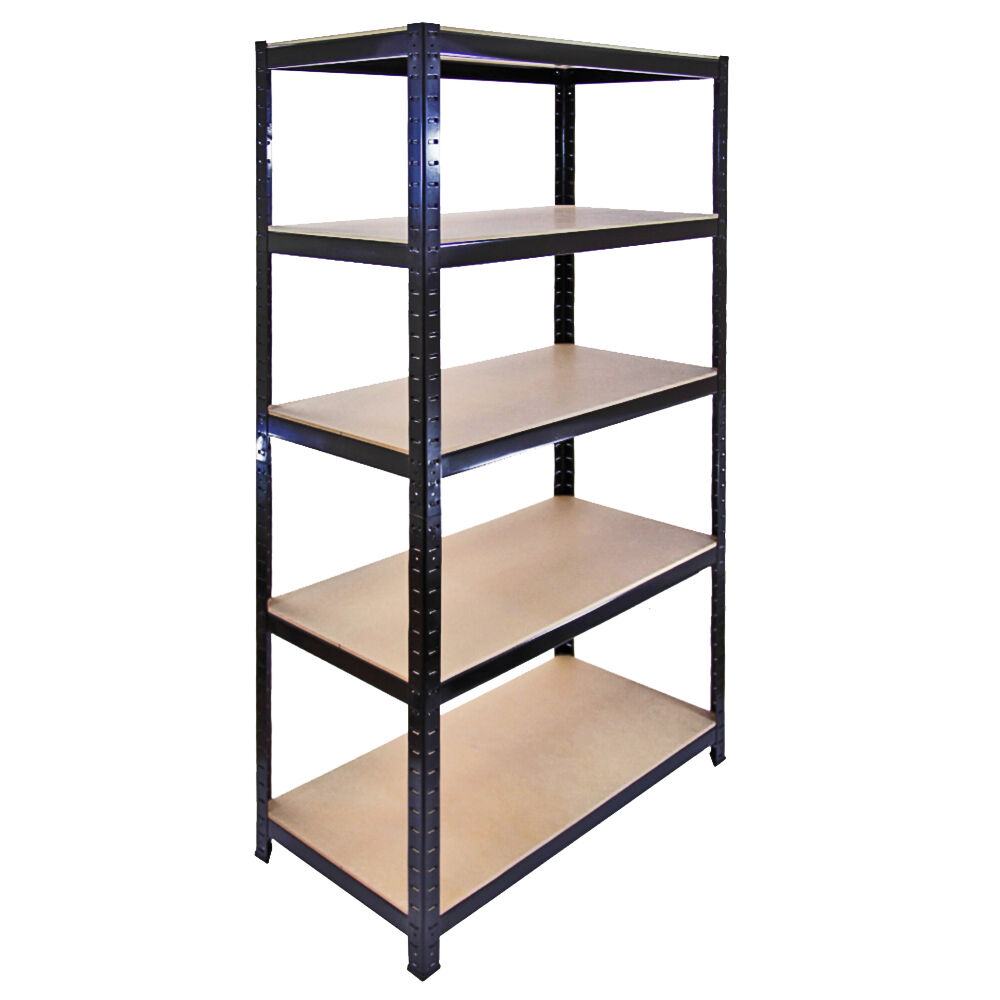 1 garage shelving racking heavy duty steel boltless warehouse unit 5 tier 90cm ebay. Black Bedroom Furniture Sets. Home Design Ideas