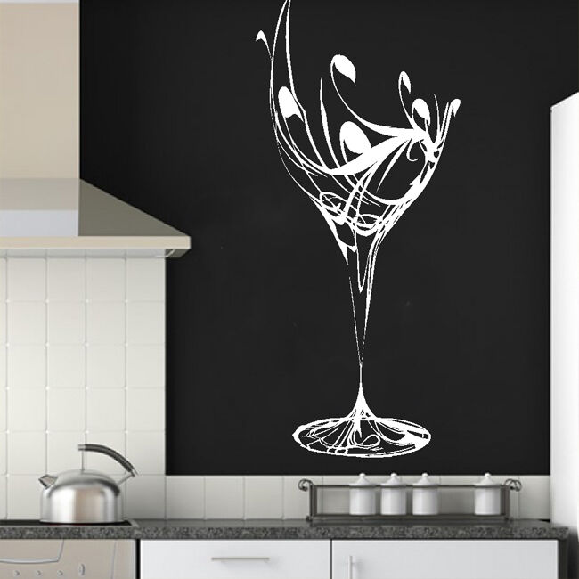 elegant wine glass wall sticker art design kitchen