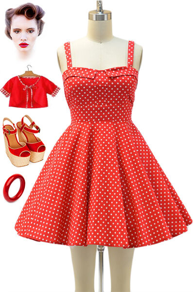 50s Style Red Amp White Polka Dot Bombshell Pinup Full Skirt