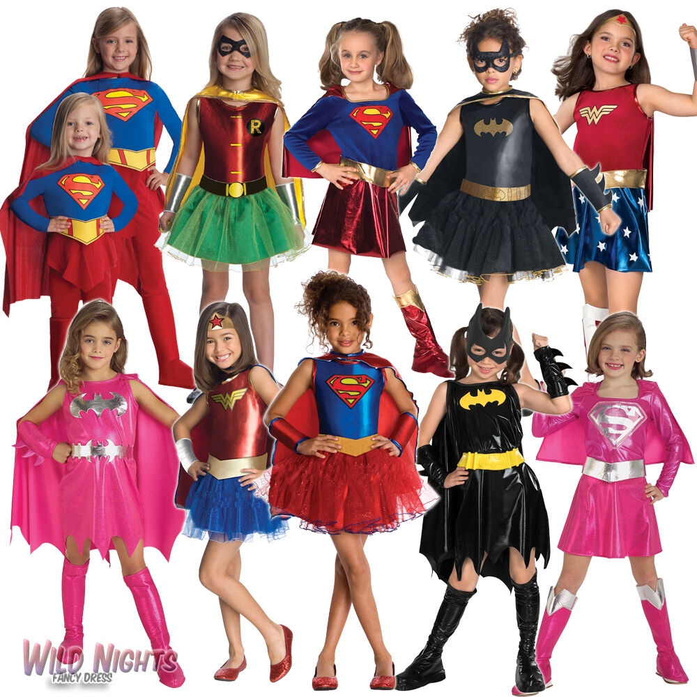 Girls Superhero Fancy Dress Costume Kids Ebay