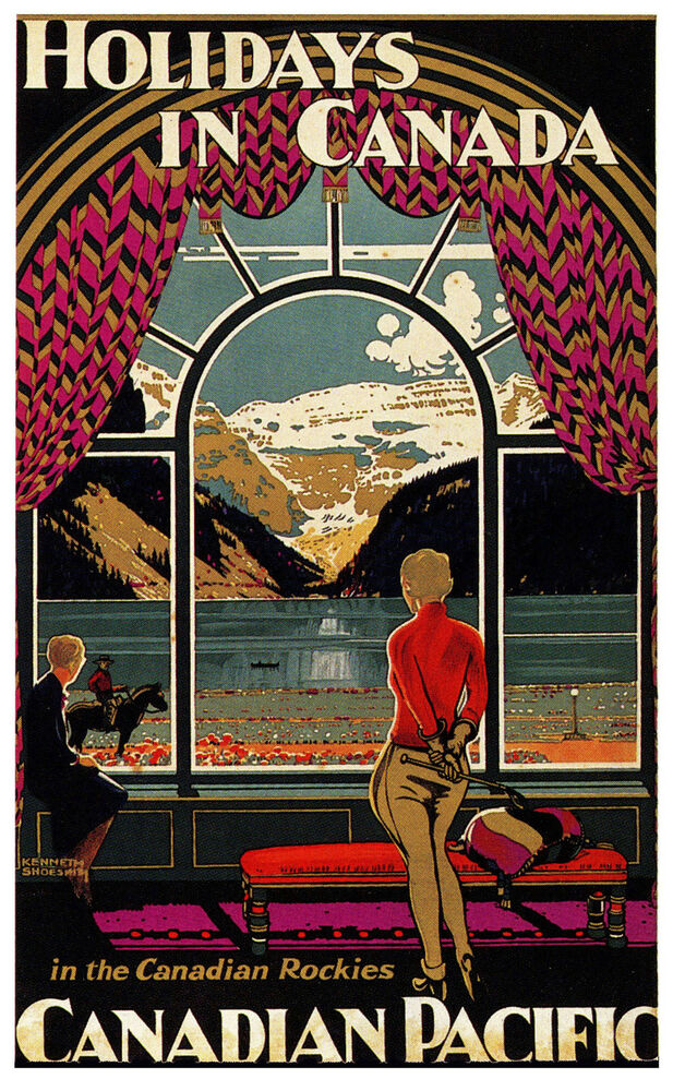 CANADA ..Vintage CANADIAN PACIFIC Art Deco Travel Poster ...