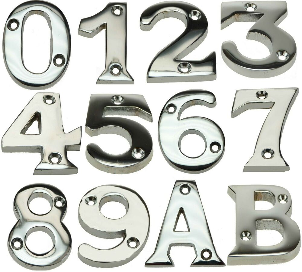 Chrome plated screw in house door numeric number letter for Letter plaques