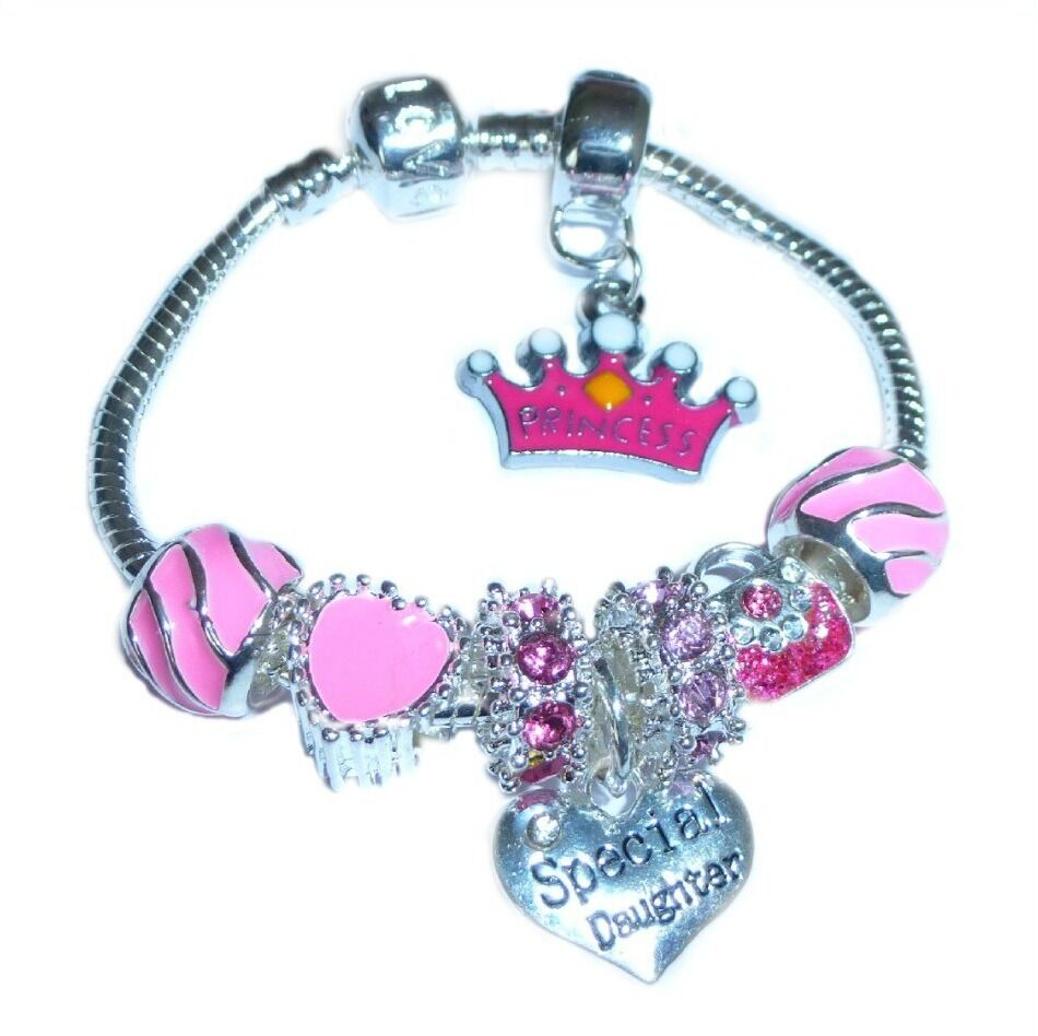 childrensgirls princess sparkling pink charm bracelet to