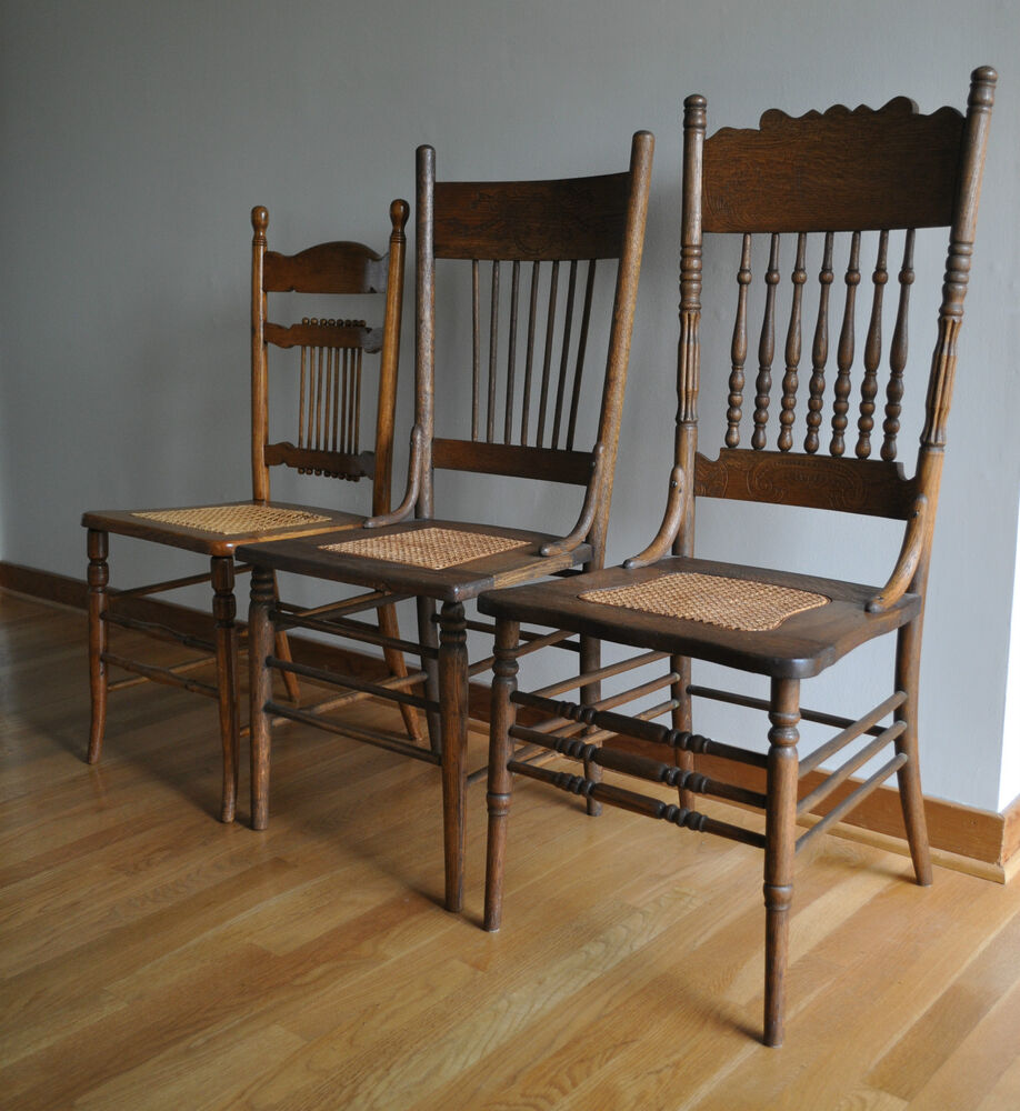 Antique Caned Oak Chairs Spindle Back 3 Victorian Dining Chairs EBay