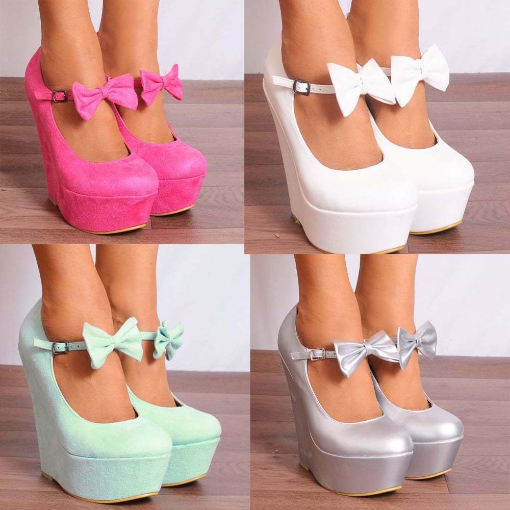 987b9faee6 Details about LADIES WOMENS ANKLE STRAPS BOWS WEDGED PLATFORMS WEDGES HIGH  HEELS SHOES UK 3-8