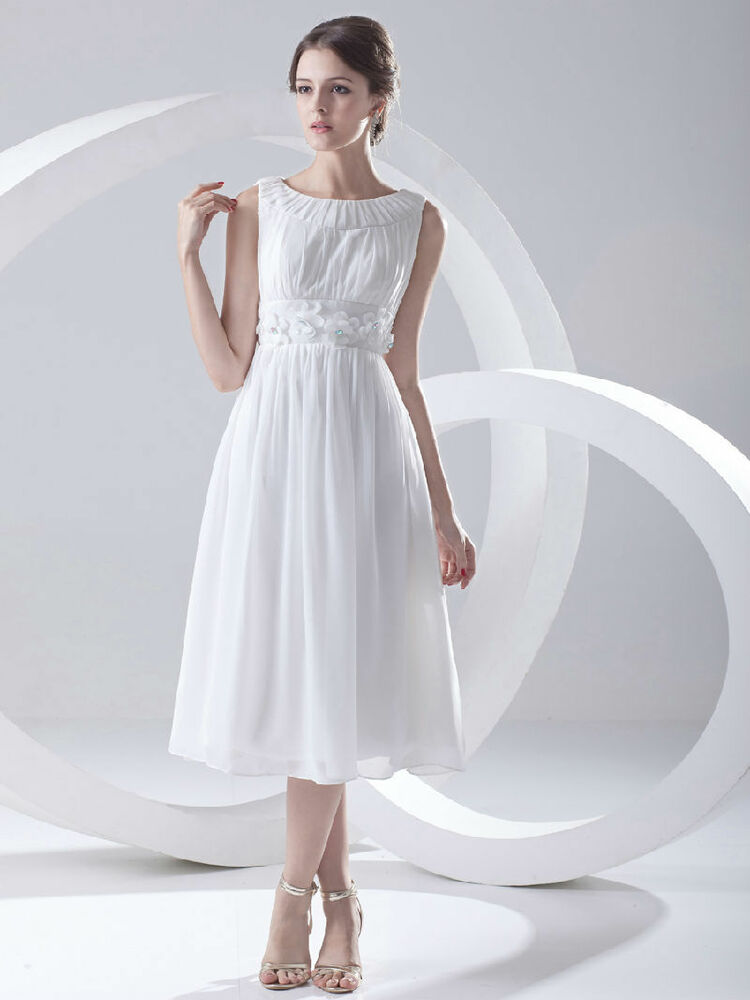 Cheap Price Short Chiffon Wedding Dress Bridal Gown Tea