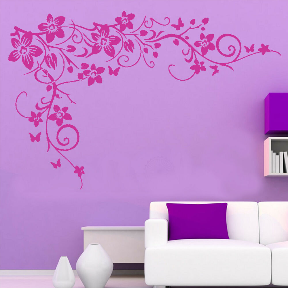 Large Butterfly Vine Flower Wall Sticker Removable Home