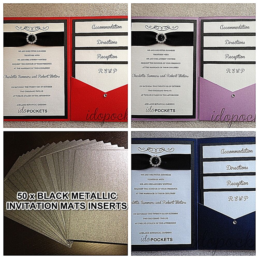 50 x black metallic backing inserts paper wedding With wedding invitation backing paper