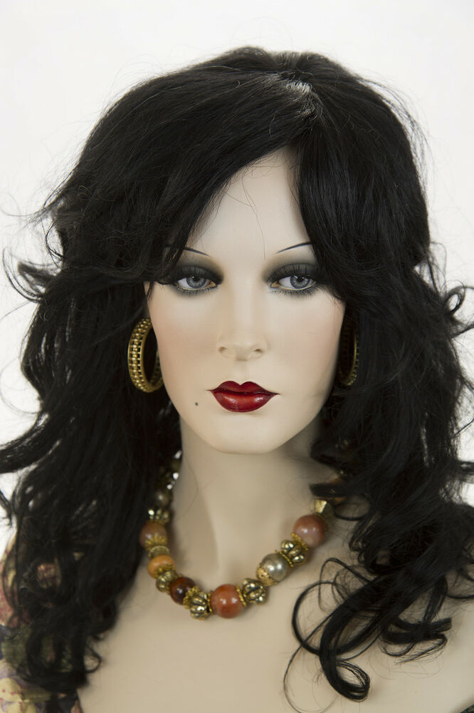 Black Brunette Long Human Hair Monofilament Hand Tied Wavy