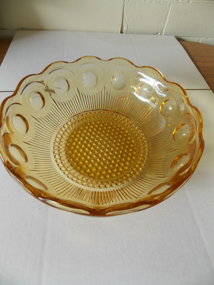 Vintage Antique Collectable Retro Pressed Amber Glass Dot